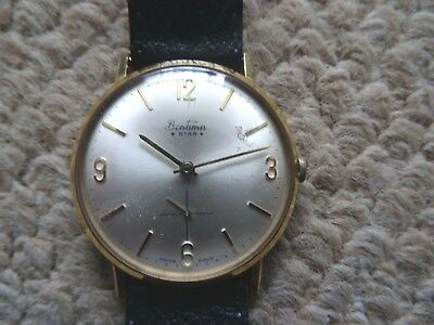 Vintage 1960S Bentima *star* Mens Wind Up Gold Plated  Wrist Watch, Swiss Made