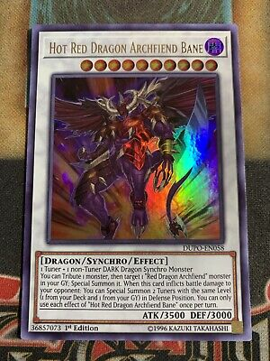 Yugioh Hot Red Dragon Archfiend Bane DUPO-EN058 Ultra Rare 1st Edition IN HAND!