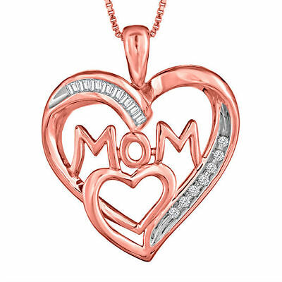 Mother's Necklace Diamond 14K Rose Gold Over Silver Heart Necklace Pendant