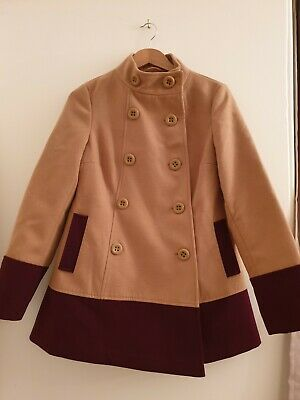 e93944a4bf65 PRIMARK double breaste Coat Tan/camel & Burgandy Size 12 work spring jacket  bnwt