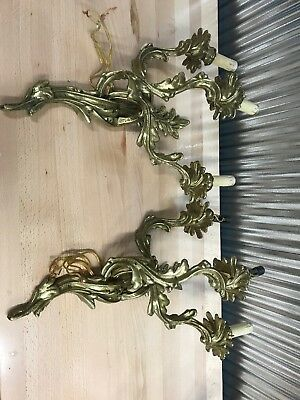 Vintage ~ Antique ~ FRENCH ROCOCO Style ~ BRASS ~ Hanging ~ SCONCE ~ Large Heavy