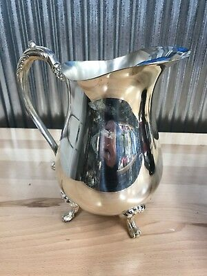 Silverplate Footed Water Pitcher with Ice Lip & Claw Feet Silver Plate