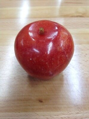 Vintage Alabaster Marble Stone Fruit Carved Heavy Paperweight  Red Apple