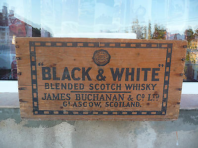 Black & White wood crate box Blended Scotch Whisky James Buchanan Vintage empty