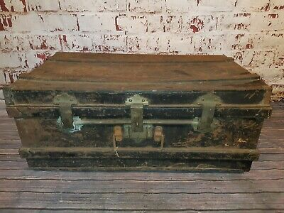 Antique Old Black Metal Industrial Military Trunk Blanket Box Coffee Table