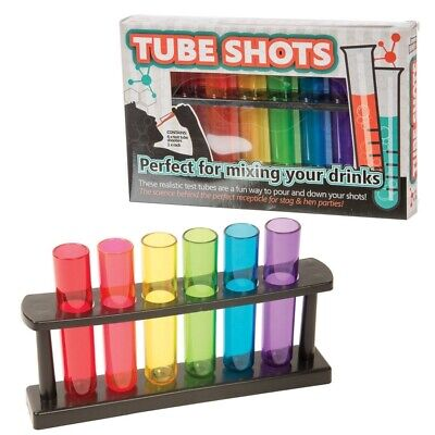 Test Tube Shooters With Lab Style Rack Party Bar Accessory Shot Glasses Drinks