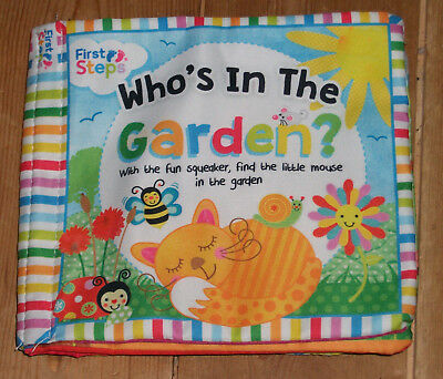 Who's in the Garden soft cloth fabric crinkly book with squeaker