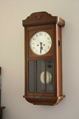 1930's Antique Oak Cased Chiming Wall Clock - Outstanding Condition