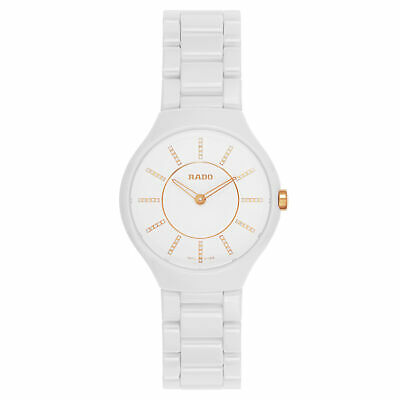 8960093eb72 NWOT LADIES RADO Thinline Jubile´ R27958702 Diamond White Ceramic ...