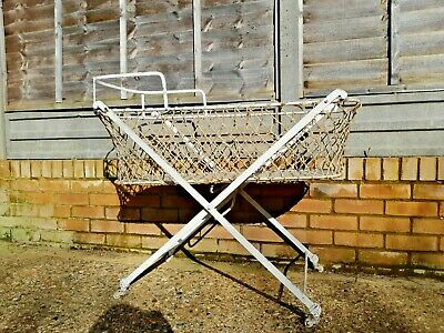Antique Victorian Wrought Iron Baby Cot Crib Bed Bassinet 1900 Folding Castors