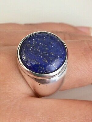 925 Sterling Silver Asian Blue Lapis Lazuli Men's Ring Size 9.75