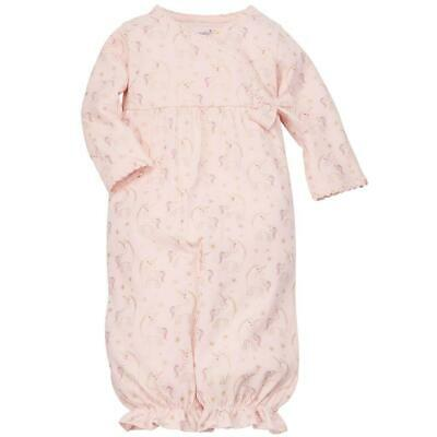 Mud Pie Kids Baby Convertible Pink Gown with Gold Foil Unicorn Print