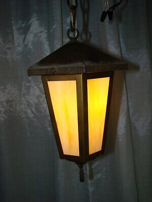 Antique Vintage Hanging Ceiling Light Porch Hallway Slag Glass Panels Nice!!!