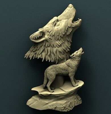3d STL Model Relief for CNC Router Aspire _ (0305) Wolves