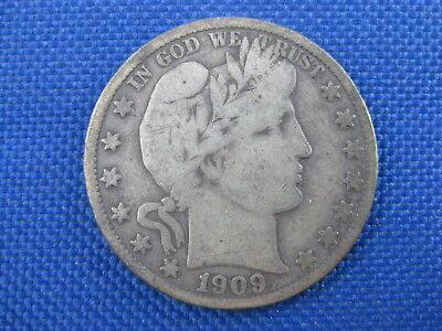 1909 S Barber Silver Half Dollar 50 Cent Coin
