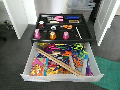 Scrapbooking six drawer organiser complete with various craft bits and pieces