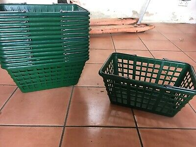 14 x Retail Plastic Shopping Basket, Metal Handles
