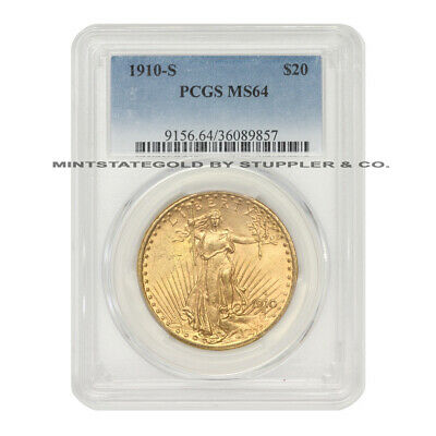 1910-S $20 Saint Gaudens PCGS MS64 Choice Graded San Francisco Gold Double Eagle