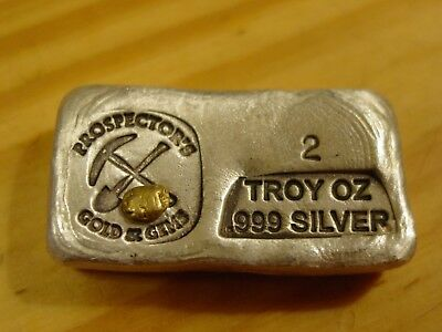 Prospector's Silver Bar With 1/5 Gram Gold Nugget 2 Troy Ounce 999 Fine Silver