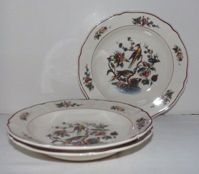 "(Set of 3) Villeroy & Boch Red ""Phonix"" PHOENIX 9"" RIMMED SOUP BOWLS (Germany)"
