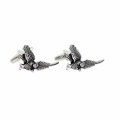 New Novelty Antique Silver Tone Pheasant Cuff Links Bird Cuff Links 1229