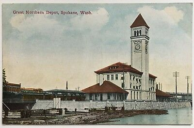 WA Postcard Spokane RR Train Railroad Great Northern Depot Station tower bldg