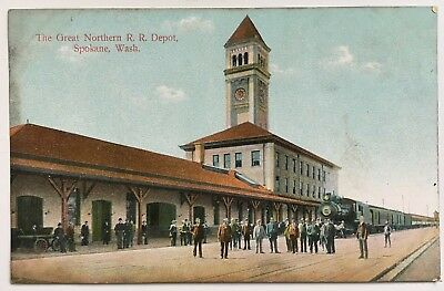 WA Postcard Spokane Washington Great Northern RR Railroad Depot Station Train