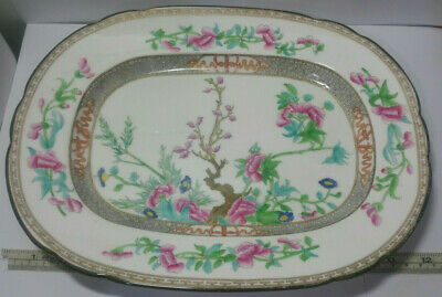 """Old Chinese Export Famille Rose Painted Porcelain Vegetable Dish Platter 12.25"""""""