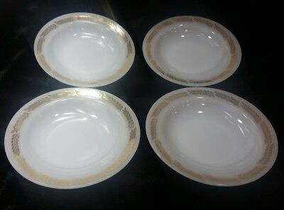 (4) Federal Glass Golden Harvest White Milk Glass HEAT PROOF  Soup Bowls 8""