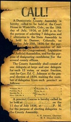 Democratic Caucus Notice 1936 Westcliffe Custer County Assembly Flyer Colorado
