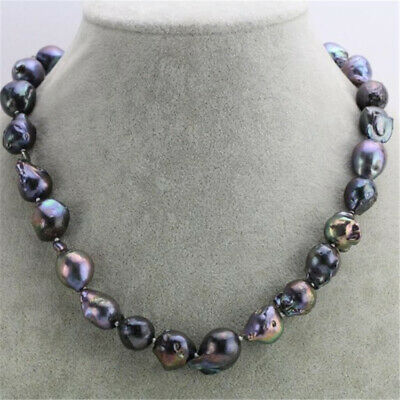 24x31mm Natural Purple Baroque Pearl Necklace 18 inches Accessories Real Hang