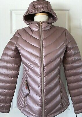 dd2bcd29c $139 NWT WOMENS Calvin Klein CK Packable Down Puffer Coat Jacket Shiny Rose  Gold