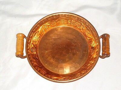 Vintage Pre-Owned Copper Dish Bowl With Wood Handles