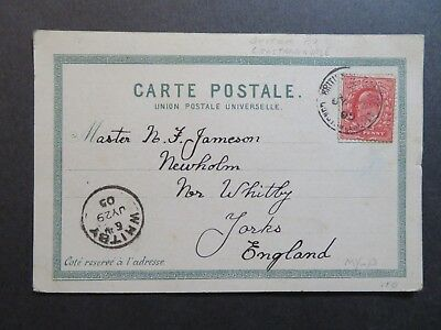 Great Britain Offices In Constantinople 1905 Postcard to Whitby - Z7846