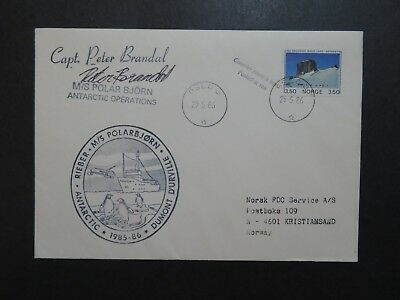 Norway 1986 M/S Polarbjorn Antarctic Cover / Cpt Signed - Z9247