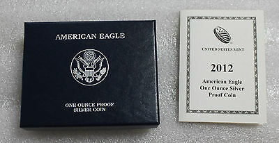 2012 W American Silver Eagle Proof 1 oz. with Mint Box & CoA - OGP