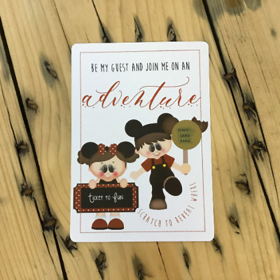 Scratch & Reveal Surprise Trip Card. Travel Card. Disneyland Holiday Card.