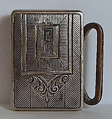 """Art Deco Belt Buckle Electro Silverplated Engraved """"F"""" Patent No."""