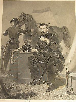RARE ANTIQUE 1862 STEEL ENGRAVING GEORGE McCLELLAN-JOHNSON FRY & CO. CIVIL WAR