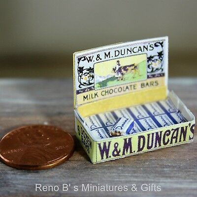 Dollhouse miniatures 1:12 W & M Duncan's Chocolate Bars Counter Display Box NEW
