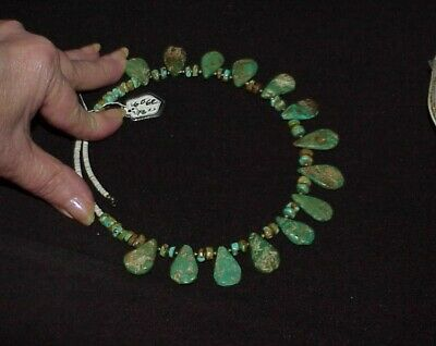 """Antique NAVAJO Sterling Royston Turquoise Collar Necklace 66.0Gram Expands 18"""""""