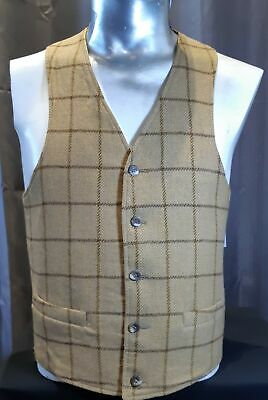 1970's Waistcoat, Wool mustard/ brown large checked USA, size S