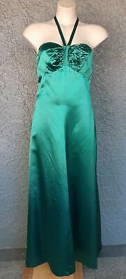 1970's Satin Evening Maxi dress by 'London Look', forest green, size 12