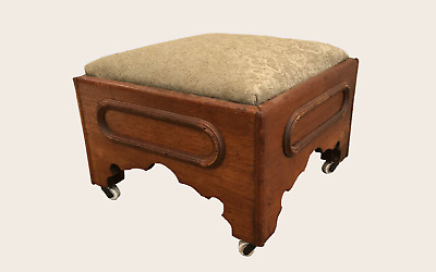 Antique Victorian Ottoman Mid 19th Century Solid Walnut