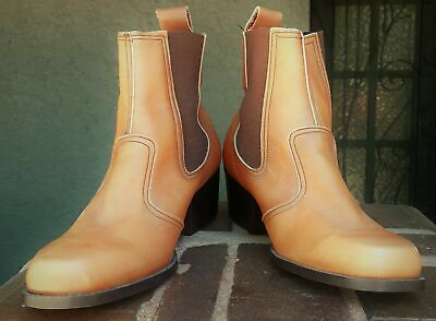 1970's slip on leather boots, tan, size 40.