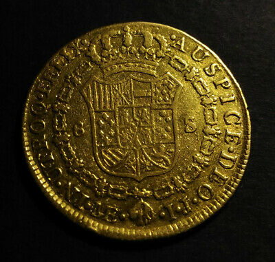 Lovely pirate & spanish colonial * 8 Escudos Gold * Lima IJ * 1795 * with COA