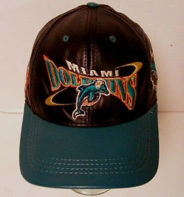 1ba3ce0feef09 Miami Dolphins Team NFL Black Leather Strapback Hat Cap Embroidered VGC USA  MADE