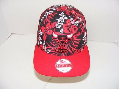 100% authentic 4f432 711d5 CHICAGO BULLS New Era 9FIFTY Red WINDY CITY Hawaiian Floral Embroidered Hat  Cap