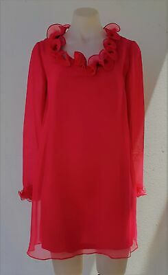 1960's Chiffon Go-Go mini dress by 'Tilly' of Adelaide, Hot Pink, Size 12.