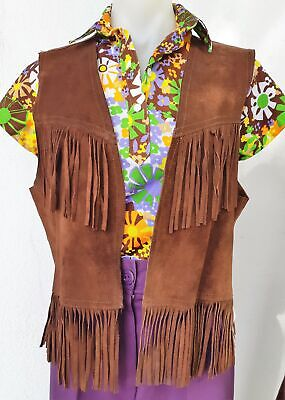 1970's Chocolate Brown Fringed Vest, size 14- 16, USA.